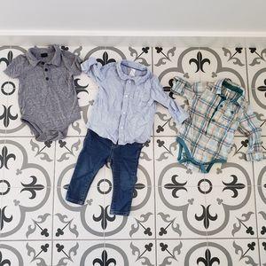 Boys 6-9 months 3 dress shirts jeans